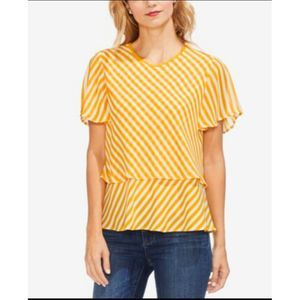 Vince Camuto Striped Popover Top Yellow XL